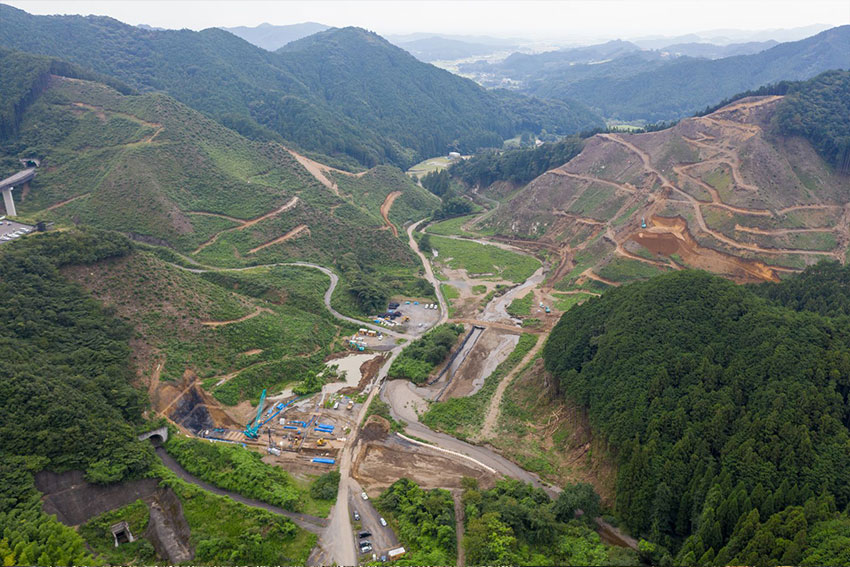 Top view of the construction site of the Nanma dam project in Japan